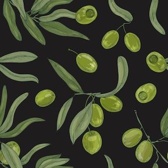 Padrão sem emenda natural com galhos de árvores de oliveira, folhas, frutas crus orgânicas verdes ou drupas no preto