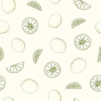 Padrão sem emenda natural com limão desenhado à mão com linhas de contorno em fundo claro