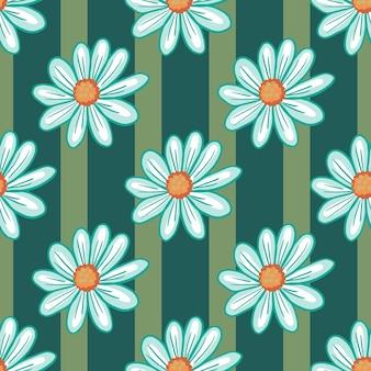 Padrão sem emenda natural com ornamento de flores de margarida azul doodle. fundo verde listrado. impressão da natureza. ilustração das ações. desenho vetorial para têxteis, tecidos, papel de embrulho, papéis de parede.