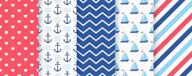 Padrão sem emenda náutico. fundo do mar marinho com âncora, veleiro, ziguezague, listra, coração