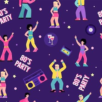 Padrão sem emenda no tópico da ilustração em vetor plano dos desenhos animados da festa discoteca