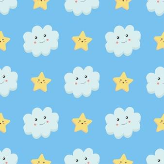 Padrão sem emenda, nuvem e estrelas em azul.