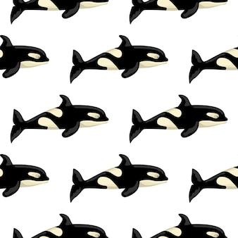 Padrão sem emenda orca em fundo branco. modelo de personagem de desenho animado do oceano para crianças. textura geométrica repetida com cetáceos marinhos. projete para qualquer finalidade. ilustração vetorial.