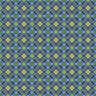 Padrão sem emenda oriental nas cores azuis e amarelas. ornamento oriental colorido.