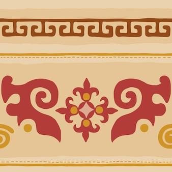 Padrão sem emenda, origem étnica no tema da arte cita e turca, desenho vetorial