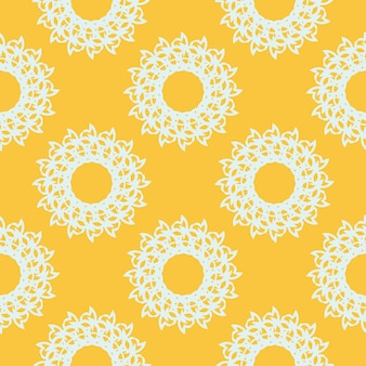 Padrão sem emenda orvalhado amarelo com ornamentos vintage brancos. papel de parede em um modelo de estilo vintage. elemento floral indiano. ornamento gráfico para papel de parede, embalagem, embrulho.