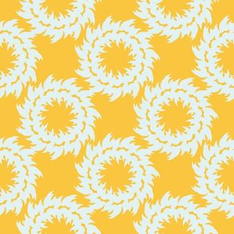 Padrão sem emenda orvalhado amarelo com ornamentos vintage brancos. papel de parede em um modelo de estilo vintage. elemento floral indiano. ornamento gráfico para tecido, embalagem, embalagem.