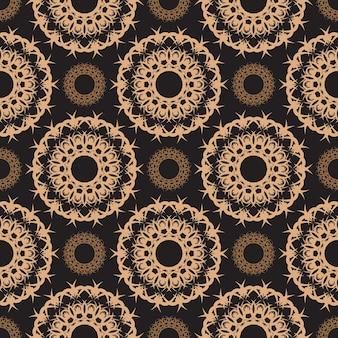 Padrão sem emenda orvalhado escuro com ornamentos vintage. papel de parede em um padrão de estilo vintage. elemento floral indiano. ornamento para papel de parede, tecido, embalagem e papel. estilo simples, ilustração vetorial.