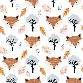 Padrão sem emenda outonal com lindas raposas e folhas