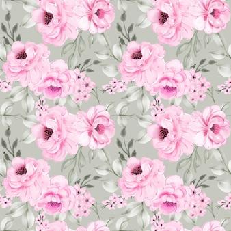 Padrão sem emenda padrão sem costura de peônias de flores rosa