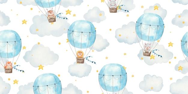 Padrão sem emenda para crianças com animais em balões, ilustração para crianças fofa