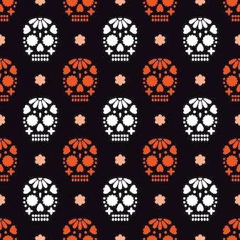 Padrão sem emenda para dia de los muertos - feriado mexicano, dia dos mortos.