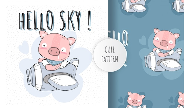 Padrão sem emenda plana animal bonito porco feliz voando