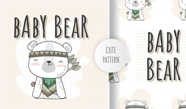 Padrão sem emenda plana bebê fofo animal urso estilo boho