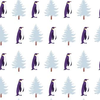 Padrão sem emenda plana de vetor com animais de pinguim-norte de mão desenhada isolados na paisagem de inverno. bom para embalagens de papel, cartões, papéis de parede, etiquetas para presentes, decoração de viveiro, etc.