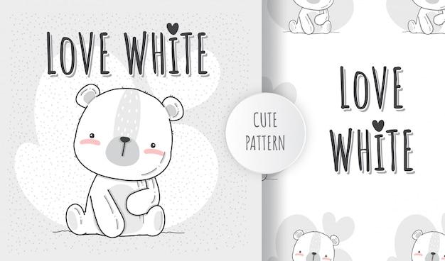 Padrão sem emenda plana fofo animal urso branco