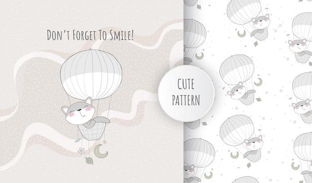 Padrão sem emenda plana raposa animal fofa feliz voando balão de ar quente