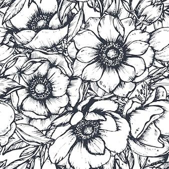 Padrão sem emenda preto e branco com flores de anêmona desenhada de mão, brotos e folhas no estilo de desenho.