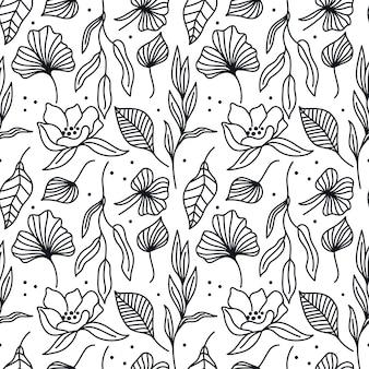 Padrão sem emenda preto e branco com flores de folhas textura floral com arte de linha botânica simples