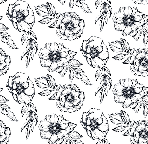 Padrão sem emenda preto e branco de vetor com flores de anêmona desenhada de mão, brotos e folhas no estilo de desenho. belo fundo infinito.