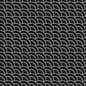 Padrão sem emenda preto listrado geométrico com ondas estilizadas