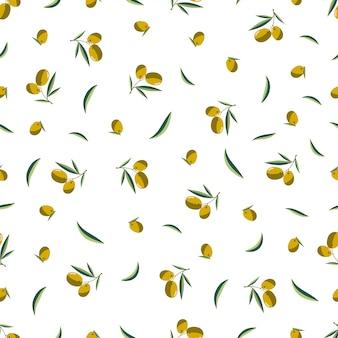 Padrão sem emenda ramo de oliveira em um fundo branco