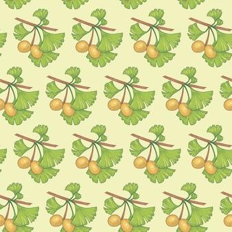 Padrão sem emenda. ramos de ginkgo biloba. ilustração para embalagens, papel, papel de parede, tecidos, têxteis. Vetor Premium