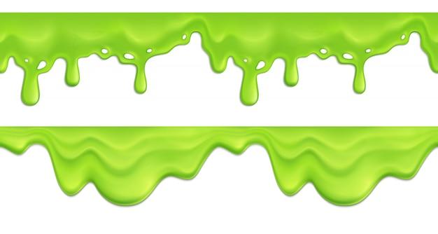 Padrão sem emenda realista com ilustração de gotejamento de derretimento verde