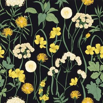 Padrão sem emenda romântico com desabrocham selvagens flores amarelas e plantas herbáceas perenes em fundo preto.