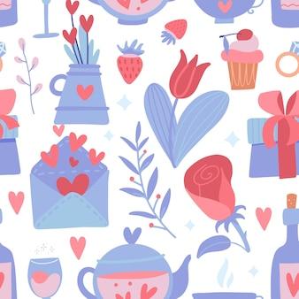 Padrão sem emenda romântico com flor e coração, bule e garrafa, morango e ramos em um fundo branco.