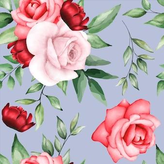 Padrão sem emenda romântico com flor marrom