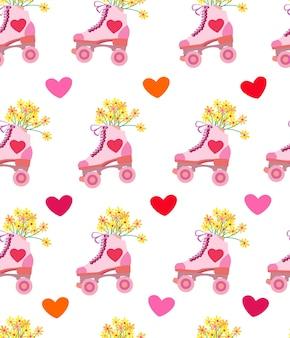 Padrão sem emenda romântico com rolos e ilustração vetorial de estoque de corações para impressão