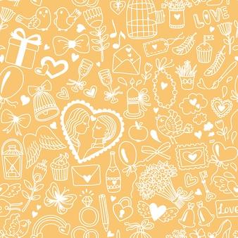 Padrão sem emenda romântico em estilo cartoon. ilustração de casamento ou dia dos namorados