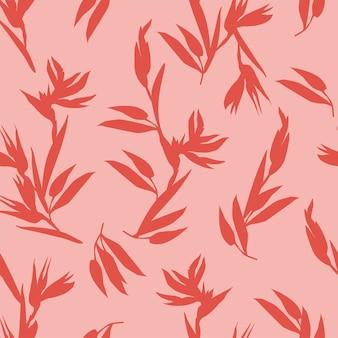 Padrão sem emenda rosa com silhuetas vermelhas de flores tropicais de heliconia bihai vetor para tecidos