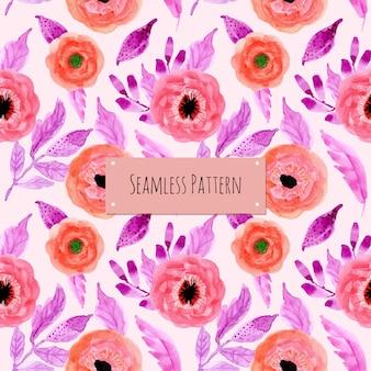 Padrão sem emenda rosa roxo aquarela floral