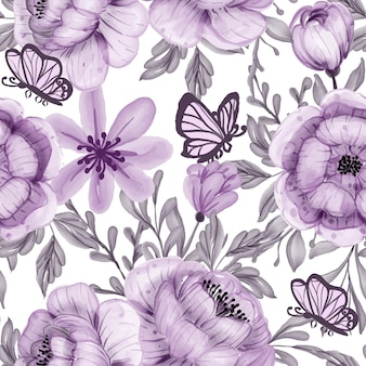 Padrão sem emenda roxo de flor em aquarela e borboleta