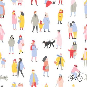 Padrão sem emenda sazonal com minúsculos homens, mulheres e crianças vestidos com roupas de inverno
