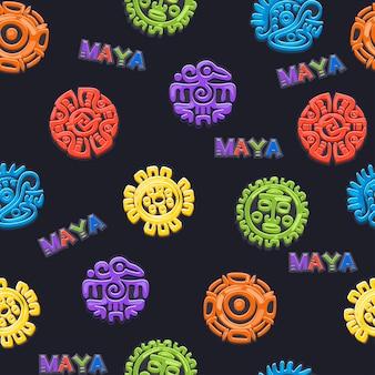 Padrão sem emenda símbolo da mitologia mexicana antiga, diferentes símbolos astecas americanos, totem nativo da cultura maia. ícones do vetor.