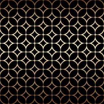 Padrão sem emenda simples dourado art déco com formas redondas, cores pretas e douradas