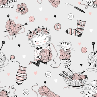 Padrão sem emenda sobre o tema de tricô com uma linda tricotadora e seu gatinho brincando com um novelo de lã. vetor.
