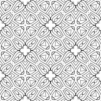 Padrão sem emenda tradicional indiano bonito preto e branco
