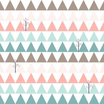 Padrão sem emenda triângulo rosa doce e azul fofo