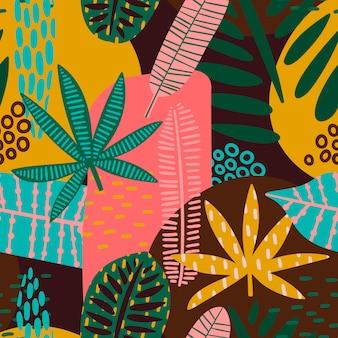 Padrão sem emenda tribal com folhas abstratas