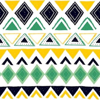 Padrão sem emenda tribal com símbolos étnicos abstratos geométricos