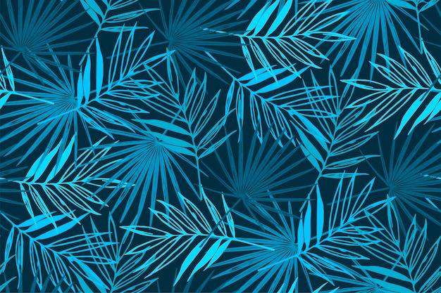 Padrão sem emenda tropical azul com folhas de palmeira