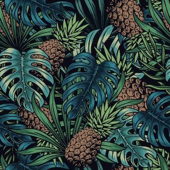 Padrão sem emenda tropical colorido com abacaxi, monstera e folhas de palmeira