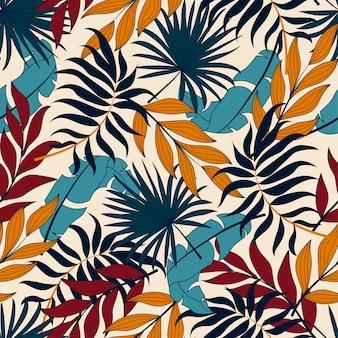 Padrão sem emenda tropical colorido