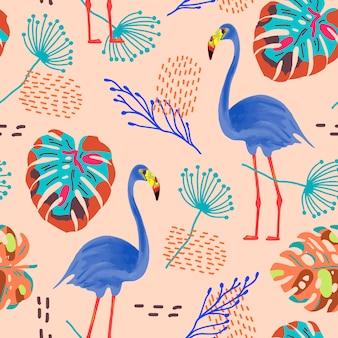 Padrão sem emenda tropical com flamingos e folhas exóticas.