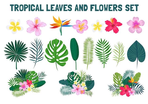 Padrão sem emenda tropical com flores e folhas de palmeira. ilustração vetorial