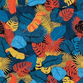 Padrão sem emenda tropical com folhas de palmeira exóticas. monstera, palma, folhas de bananeira. projeto botânico de têxteis exóticas. projeto de selva de verão. estilo havaiano.